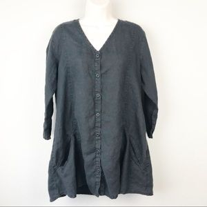 Flax 100% linen black V-neck button front shirt